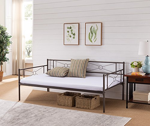 Kings Brand Ewen Pewter Metal Twin Size Daybed Frame with Metal Slats Support by Kings Brand Furniture