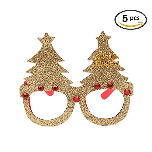 Novelty Christmas Glasses Frame Party Props Decoration Eyeglasses Glittered Xmas Tree No Lenses Sunglass for Kids Family Holiday Gift Pack of - Christmas Tree Sunglasses