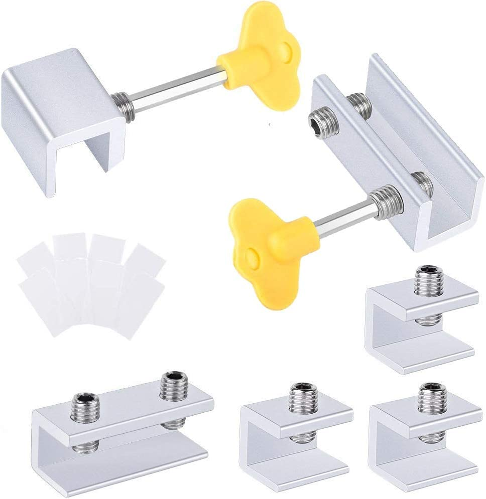 Cerradura de seguridad para ventana corredera de aluminio ajustable con llaves y juntas protectoras 4 agujeros individuales + 2 agujeros dobles