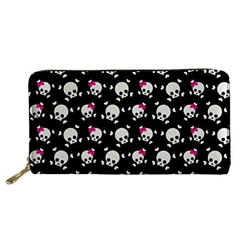 (UNICEU Women's Zipper Wallets Crossbones Skull Print Long Purse Clutch Bag Credit Card Holder)