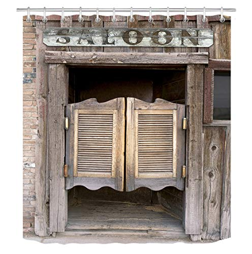 LB Rustic West Saloon Stall Shower Curtain Set, Vintage Retro Cowboy Western Country Farm Bathroom Decor, 70x70 Shower Curtain Set Waterproof Mildew Free