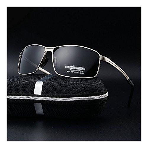 MINCL/Polarized Sunglasses for Men UV400 Protection Lenses Metal Frame -yhl (silver-black, - Sunglasses Metal Heavy