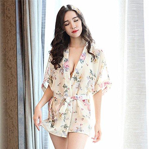 XINGMU Lencería Mujer Pijamas Chiffon Floral Impreso Albornoz Kimono Uniforme De Vestir Batas Camisón Blanco Talla