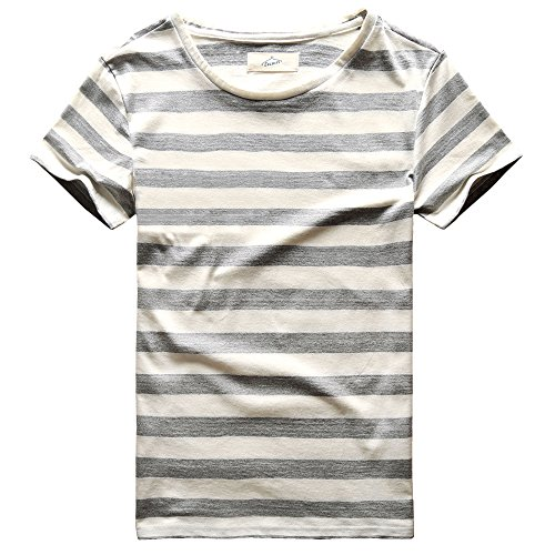 Zecmos Men T-Shirts Stripes Tshirts Casual Slim Fit Male Striped Tees Top Grey M