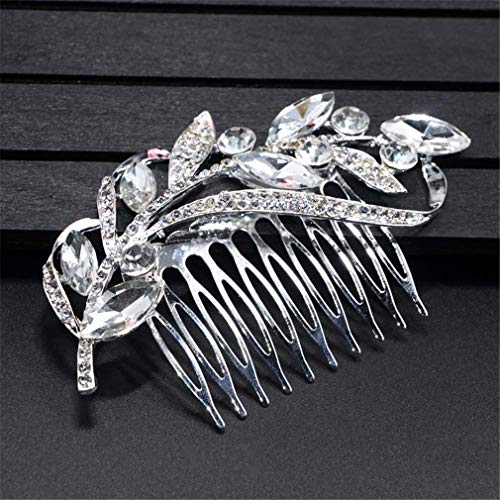 Silver H&c Rose - Rose Gold Color Wedding Hair Combs Bride Crystal Rhinestones Pearls Women Hairpins Bridal Headpiece Hair Jewelry Accessories C 10x6cm Silver