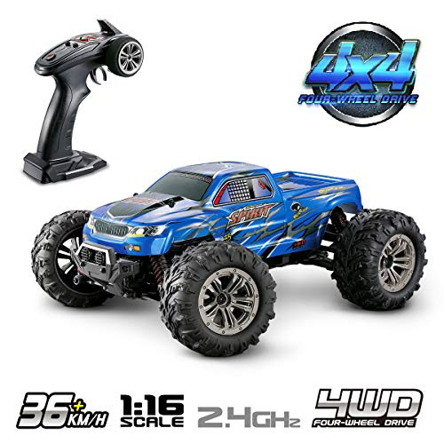 Hosim High Speed 36km/h 4WD 2.4Ghz Remote Control Truck 9130, 1:16 Scale Radio Conrtolled Off-Road RC Car Electronic Monster Truck R/C RTR Hobby Cross-Country Car Buggy (Blue) (Rtr 1 10 Electric Rc Drift Car)