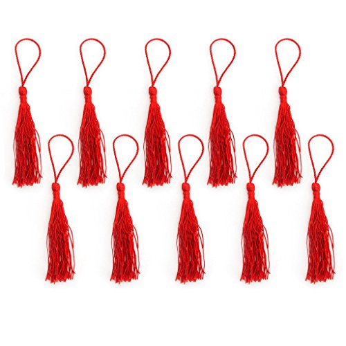 Silky Tassels Red 12cm Long For Craft Embellishments, Purses, Bags, Keyrings etc. Pack of 10 by HAND