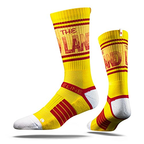 NBA Cleveland Cavaliers Adult The Land Strapped Fit 2.0 City Line Socks, One Size, Yellow by Strideline