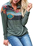 FARYSAYS Women's Sweatshirt Tops Casual V Neck Long Sleeve Loose Color Block Sweatshirt Pullover Tops Green Large