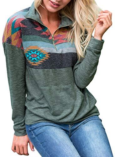 Aztec Print Shirt - AlvaQ WomenTopsHalfZipperLongSleeveFloralPrintPulloverHoodieSweatshirtCasualTopswithKangarooPocket Plus Size Green Large