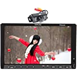 Eincar 2017 Lowest noisy 7-inch Double DIN Gps Navigation Universal Car DVD Player Built-in Autoradio Bluetooth HD Sliding Capacitive Touchscreen Stereo system USB/SD Aux Auto Audio Free Backup Cam