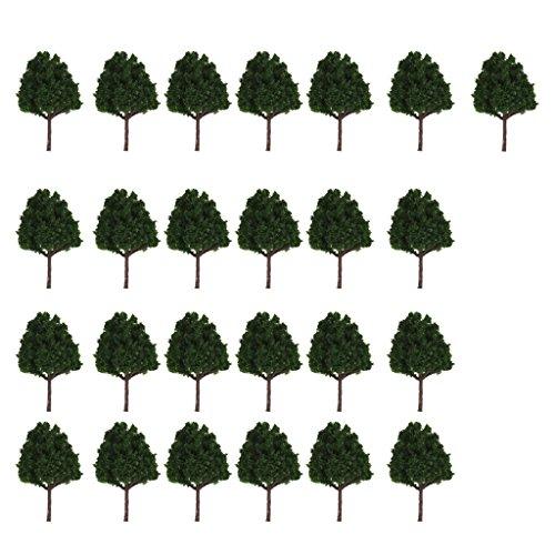 MagiDeal 25pcs Miniature Plastic Trees for Model Railways N Scale Train Layouts 1:150