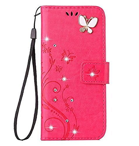 Wcysin Galaxy S9 Luxury Handmade Bling Rhinestone Soft Slim Flip Stand Wallet Case for Samsung Galaxy S9 Flower Butterfly PU Leather Case for Girls Women (Hot pink)