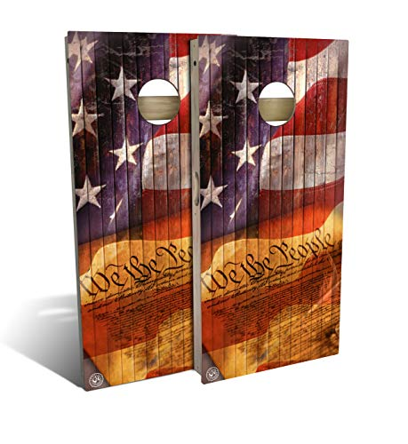 Slick Woody'S We The People Cornhole Set with 8 Cornhole Bags, Baltic Birch Plywood Tops for The Smoothest Flattest Playing Surface, Retractable Legs and Back Bounce Brace (Best Plywood For Cornhole)