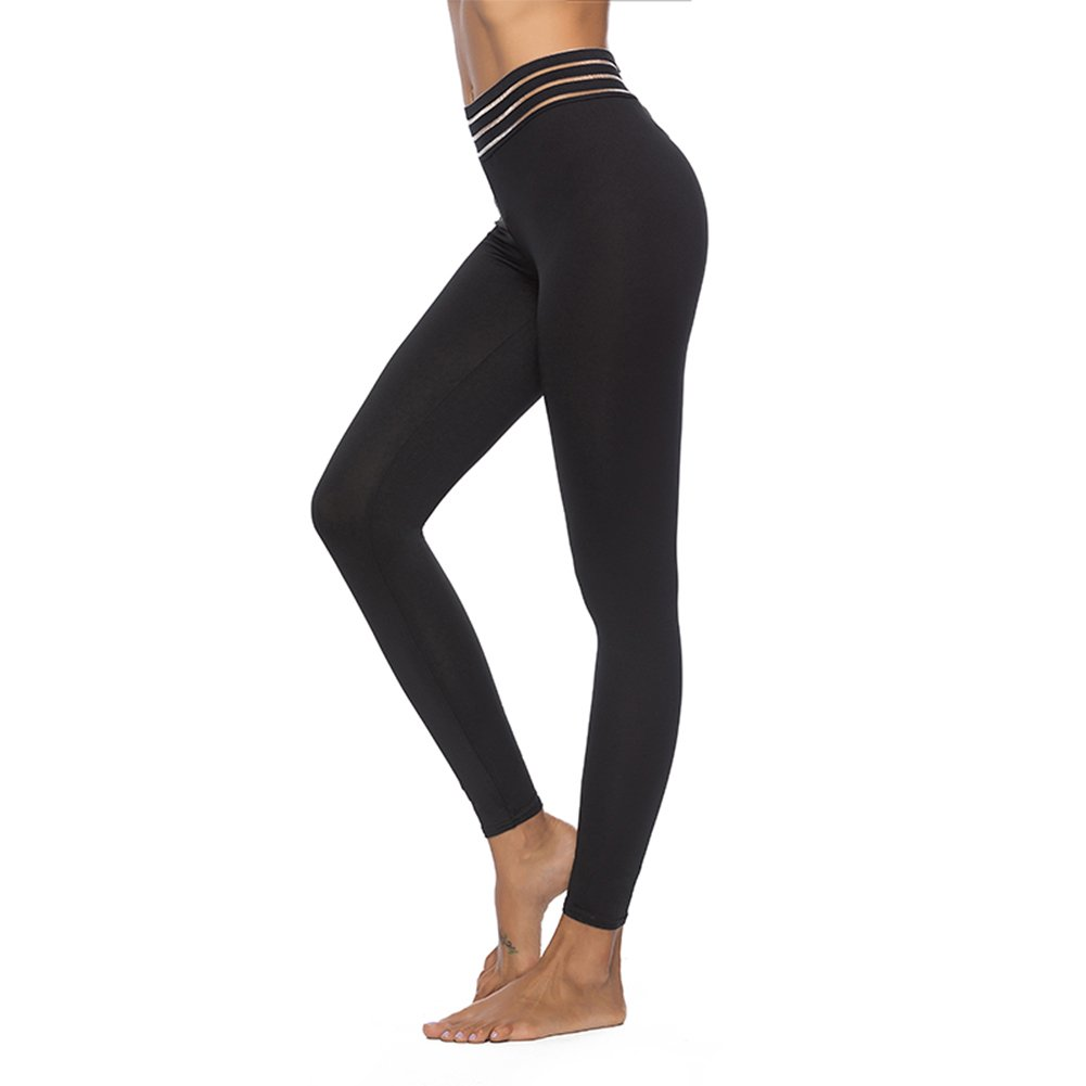 Black8929 L'ASHER Leggings, Sexy Women's High Waist Skinny Patchwork Thigh Mesh Yoga Capri Pants