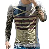 Paymenow Clearance Men Short Sleeve T Shirts Casual Summer American Flag Print Graphic Fashion Tee Shirts (S, Gray)
