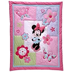 Disney Minnie Mouse Butterfly 4-piece Crib Bedding Set No Bumper