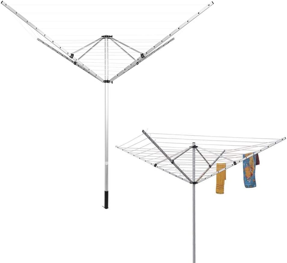 Clothes Line,60m 4 Arm Airer Folding Fixable Camping Clothes Airer Portable Washing Line Heavy Duty Metal Laundry Racks Adjustable Height Clothes Drying Rack with Ground Insert for Outdoor Indoor