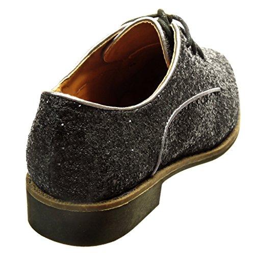 Derby Cm Moda Tacón 2 Negro Brillante 5 Zapatillas Angkorly Mujer Ancho Zapato t1qwSgv