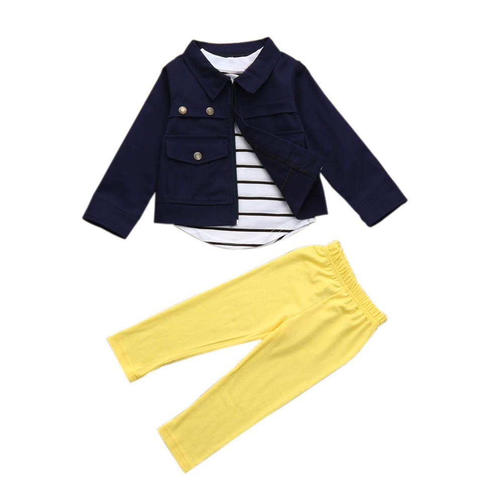 SMALLE ◕‿◕ Clearance,1Set Kids Toddler Girls Warm Long Sleeve T-Shirt Tops+Coat+Pants Clothes Outfits