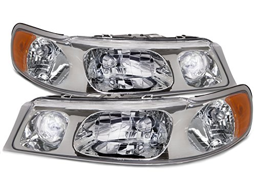 PERDE Compatible with Lincoln Town Car Halogen Headlights Headlamps With Performance Lens Passenger Driver Set Pair ()