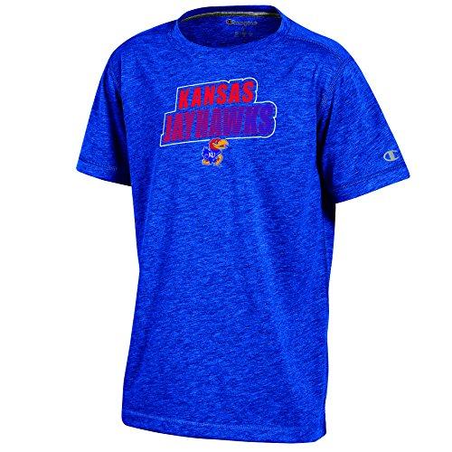 (Champion NCAA Kansas Jayhawks Youth Boys Short Sleeve Crew Neck Tee, Medium, Blue Heather)