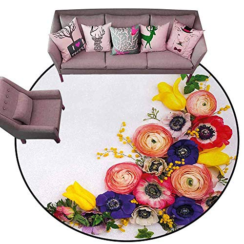 Floor Mat for Toilet Non Slip Anemone Flower,Festive Floral Composition with English Roses Fresh Buttercups and Herbs,Multicolor Diameter 72