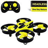 remote control airplanes - Mini Drone Headless RC Quadcopter Drone for Kids 2.4GHz 4CH 6 Axis Remote Control Helicopter Indoor / Outdoor Flying Small Airplane with One Key Return for Beginner (Yellow)