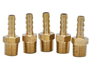 """HZFJ 1/4 Brass Hose Fitting, Barbed Hose Fittings,Adapter, 1/4"""" Hose Barb x 1/4"""" NPT Male Pipe 5-Pack"""