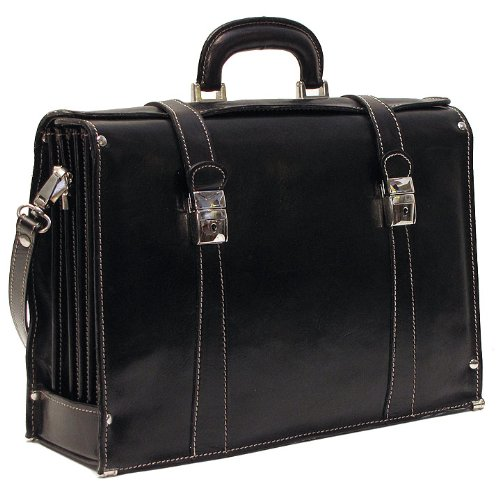 Floto Luggage Trastevere Brief Leather Briefcase, Black, Medium by Floto