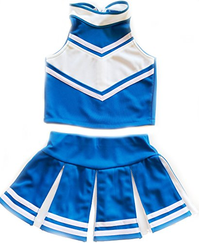 Little Girls' Cheerleader Cheerleading Outfit Uniform Costume Cosplay Lightblue/White (XXL / (16 Costume)