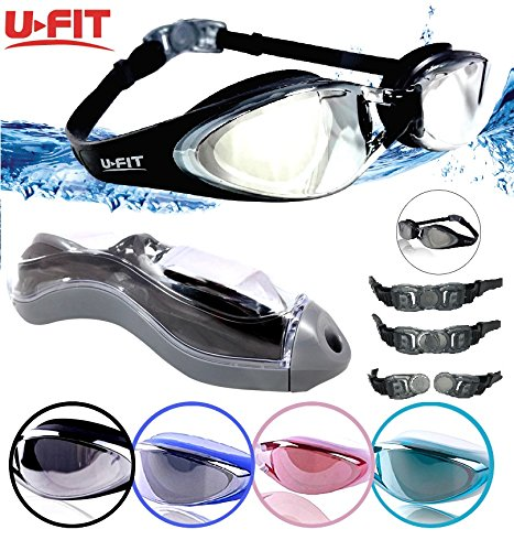 Swim Goggles - U-FIT Performance Swimming Goggles No Leaking Anti Fog UV Protection Triathlon Swim Goggles with Protection Case for Adult Men Women Youth Kids Child