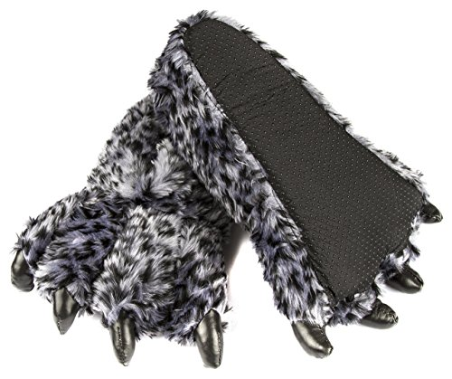 Leisureland Unisex Bear Paw Slippers Leopard Design Gray AAiCEYU