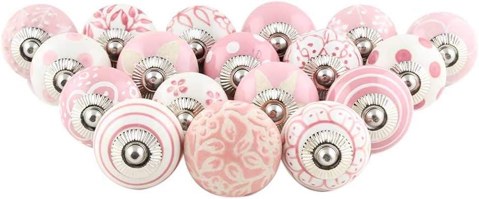 Indian Shelf Handcrafted Assorted Pack of 25 Knobs Pink Knobs Design Dresser Handles Ceramic Cabinet Pulls Mix Vintage Combo Cupboard Designer Gift
