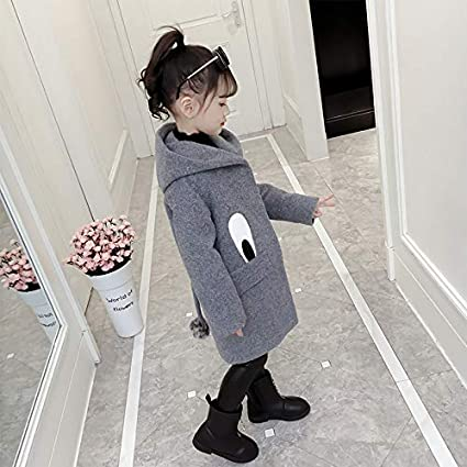 MV Childrens Girls Woolen Coat Autumn Winter Clothing Korean Big Eyes Tail Coat