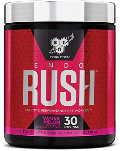 Red Leaf (BSN Endorush Pre Workout Powder, Watermelon Flavor Energy Supplement for Men and Women, 300mg of Caffeine, with Beta-Alanine and Creatine, 30 Servings)