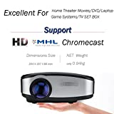 CHEERLUX Mini Projector HD 1200 Lumen with LED Technology For Ipad Iphone 6 6s 7 7s plus Android Phone And Chromecast MHL Ideal For Home Holiday Projector Theater Game Movie-Black Color