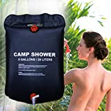 Solar Camping Shower Bag Vinmax 5 gallons/20L Solar Heating Premium Outdoor Travel Camping Shower Bath Water Bag Hot Water with Temperature 50°C Removable Hose on/off Switchable Shower Head Hiking Cli