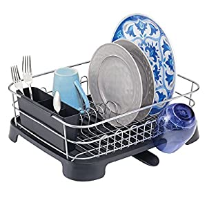 mDesign Kitchen Counter Dish Drainer Rack with Swivel Spout and Utensil Caddy –Silver/Black
