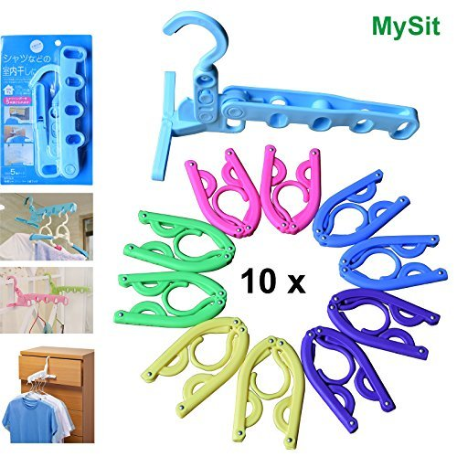 10PCS Portable Folding Clothes Hotel Hangers + 1pc Hook, 5 C