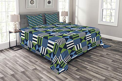 - Ambesonne Geometric Bedspread Set King Size, Checks Pattern Mosaic of Squares with Triangles and Stripes, 3 Piece Decorative Quilted Coverlet with 2 Pillow Shams, Dark Blue Lime Green Pale Blue