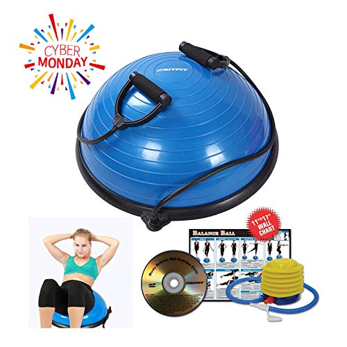 RitFit Premium Balance Ball Trainer with Resistance Bands (Free Foot Pump, Exercise Wall Chart, Workout DVD and Measuring Tape) – DiZiSports Store
