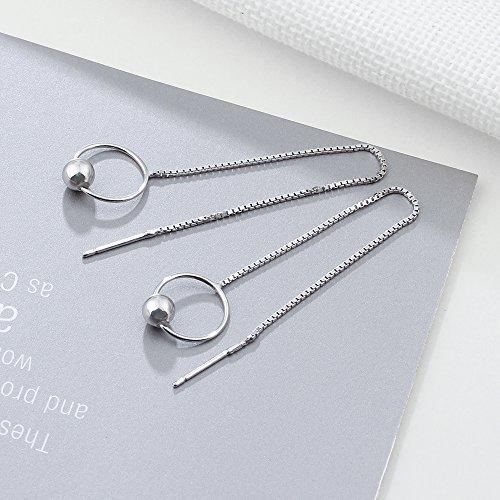 4d511f6fa9b3 YAZILIND S925 plata esterlina gota cuelgan pendientes moda espiral  personalizados accesorios redondos cuentas colgantes línea larga