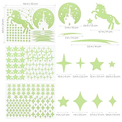 IMIKEYA 289 PCS Glow in Dark Stars and Moon Castle Unicorn Glowing Stars for Ceiling and Wall Decals, Perfect for Kids Bedding Room Living Room or Party Birthday Gift: Baby