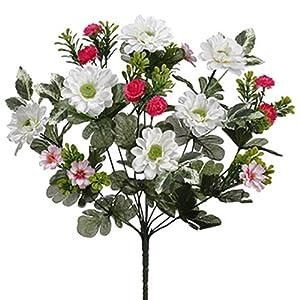 """13"""" Mixed Aster & Mum Silk Flower Bush -Cream/Beauty (Pack of 12) 63"""