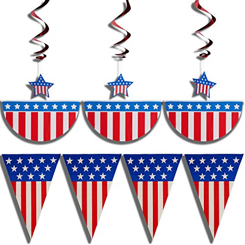 Prextex 4th of July Patriotic Decorations Party Pack Bundle with 12-Feet American Flag Bunting, 3 Stars and Stripes Hanging Swirls, 24-Feet Stars and Stripes Banner and 6 Tattoos (3 Stripe Bunting)