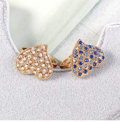 Colorful Crystal Love Heart Shape Charm Ring Friendship Gifts