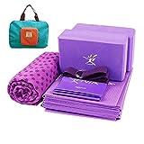 Portable Yoga Mat Kit for Travel 7-Piece Set Bundle Including Foldable Yoga Mat 4mm Thickness, 2 Yoga Foam Blocks, 1 Yoga Strap, 1 Stretch Band, 1 Non-slip Hot Yoga Mat Towel and 1 Handy Carry Bag