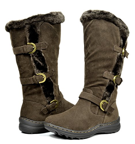 en's Winter Fully Fur Lined Snow Knee High Boots Brown Size 11 (H&l Boot)