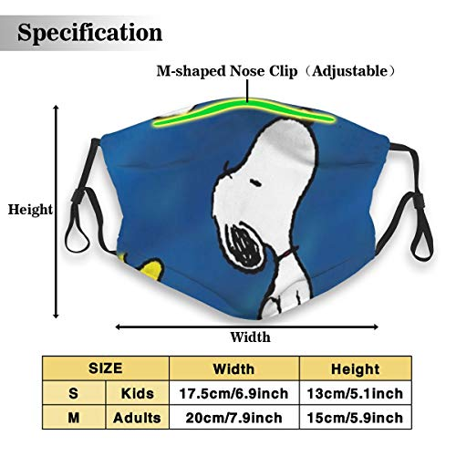 NA PM2.5 Snoopy Masks with Filter Reusable Activated Carbon Dust Masks Anti-Pollution Safety Adjustable Mask for Mans Women Kid (1 Mask + 2 Filters)